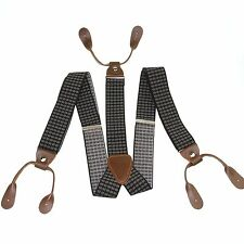 Fashional Men's Suspenders Braces Adjustable Leather Fitting Button Holes BD755