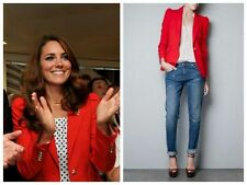 ZARA WOMAN RED JACKET BLAZER WITH GATHERING SHOULDERS EXTRA SMALL XS AS SEEN ON.