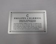 PHILIPPE CHARRIOL Automatic & Quartz Watch International Warranty Guarantee Card