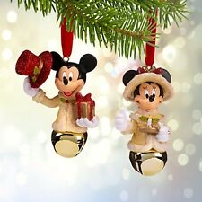 Disney Set of Two Victorian Mickey & Minnie Bell Christmas Ornament New