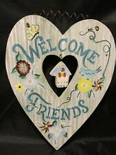 "WELCOME FRIENDS HEART SHAPED SIGN Wall/Door Hanging Picture Decor 12"" x 9.5"""