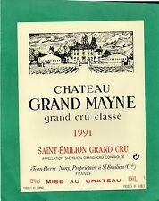 ST EMILION GCC ETIQUETTE CHATEAU GRAND MAYNE 1991   1.50 L           §19/05§