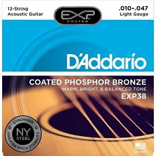 D'Addario EXP38 Phospor Bronze Light 12-String Acoustic Guitar Strings 10-47