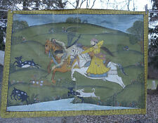 Large Antique Painting on Linen Hunt Scene India Horseback Hunters Dogs
