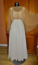 NOS Vtg 60s 70s EMMA DOMB Airy Chiffon Boho Hippie Cape Wedding Maxi DRESS GOWN