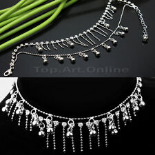 New Silver Tassel Crystal Rhinestone Jewelry Chain Anklet Ankle Bracelet Gifts