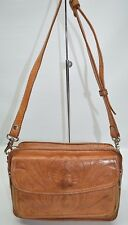 Vintage Genuine Tooled Leather Zip Crossbody Purse With Wallet