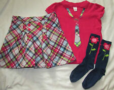 Gymboree 3PC Smart and Sweet pink polo tie top, plaid skort skirt knee socks 10