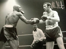 Alan Minter-ancien champion du monde-excellent signé B / W action photo V Hagler