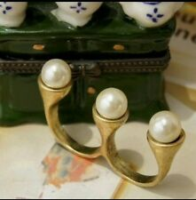 FAUX PEARL BRASS ONE SIZE ADJUSTABLE  RESIZABLE RING