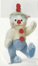 "STEIFF ""TEDDY BEAR CLOWN"" EAN 037528 MOHAIR TEDDY BEAR CLOWN BLUE/WHITE/RED"