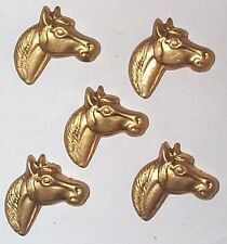 VINTAGE HORSE HEAD BRASS CHARMS STAMPINGS FINDINGS NICE DETAIL 8 PCS CHARMS