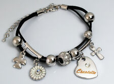 CHANTELLE Leather Name Bracelet 18ct White Gold Plated Christmas Birthday Gifts