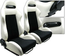 NEW 1 PAIR WHITE PVC LEATHER & BLACK SUEDE ADJUSTABLE RACING SEATS ALL TOYOTA **