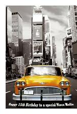 New York Yellow Taxi A5 Birthday Card Personalised Wife Mum Husband Son Daughter