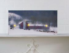Winter Farm Lighted Picture Radiance Canvas 73098 NEW