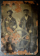 ANTIQUE NEWFOUNDLAND NAUTICAL TINTYPE PHOTO 2 MEN SHIP'S WHEEL - DAMAGED - RARE