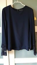 ZARA S SMALL navy double layer blouse with lace cuffs