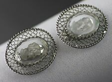 BEAUTIFUL VINTAGE WHITING & DAVIS CO. CAMEO CLIP ON EARRINGS