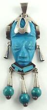 Superb Mexican .950 Silver & Turquoise Figural Head of a Myan Woman Pendant