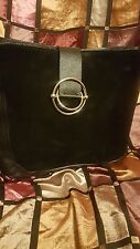 FURLA MADE IN ITALY BLACK LEATHER/SUEDE EX LARGE HANDBAG/PURSE/TOTE ZIPPED TOP L