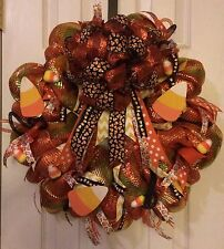 HALLOWEEN CANDY CORN THANKSGIVING FALL DECO MESH WREATH    FREE SHIPPING!!
