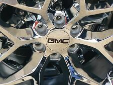 "GMC 3 1/4 3.25 Chrome Center Caps WITH BLACK GMC FOR 18"" 20"" 22"" 2014-2017"
