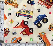 PATCHWORK/ CRAFT FABRIC FAT 1/4's 100% COTTON MULTICOLOURED TRUCK STOP 30391
