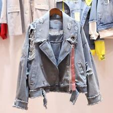Women Denim Jacket Patch flower Embroidered Hole patch Jackets coat outwear