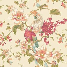 Magnolias & Birds Pearlescent Ivory Wallpaper Double Roll Bolts FREE SHIPPING