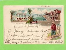 Singapore Collyer Quai Adelphi Hotel Early Gruss Aus ppc used 1898 to Austria