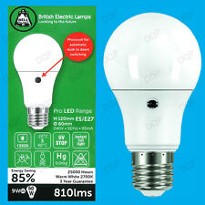 9W (=60W) LED GLS Dusk Till Dawn Sensor Security Night Light Bulb, ES E27 Lamp