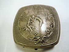 Djer Kiss- French Vintage 1925 Kissing Fairies Compact Silverplate Art Nouveau