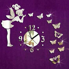 Modern Butterfly Fairy Clock DIY 3D Art Mirror Wall Sticker Kids Room Home De WA