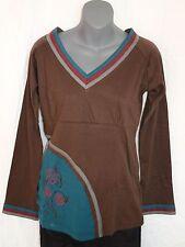 Langarm Shirt_V-Neck Longsleeve Shirt_Cotton_Goa Hippie, Naturmode