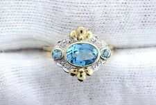 10Kt REAL Yellow Gold Oval Swiss Blue Topaz Diamond Gemstone Gem Ladies Ring