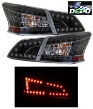 LED Tail Lights Black Housing 4 Pcs Set by DEPO Fits Nissan Sentra 2013-2016