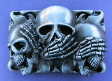 Skull Goth See Hear Speak No Evil Belt Buckle