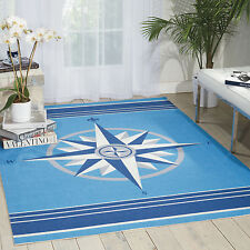 "5x8 (5'3"" x 7'5"") Nautical Compass Coastal Blue Indoor Outdoor Area Rug"