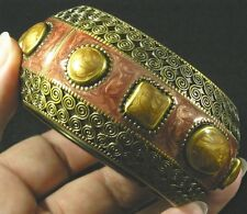 Gold plated Brown Sienna Enamel Hinged Spring Bangle Bracelet aluminum