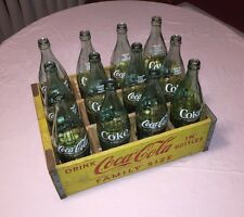 1968 Complete Vintage Yellow Wooden Coca Cola 26oz Family Size Crate, EXC COND!