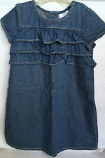 Hanna Andersson 100% Cotton Girls Denim Short Sleeve Ruffle Dress Size 130 8-10