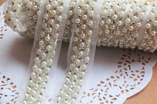 ivory crystal rhinestone pearl beaded lace trim bridal wedding lace trim