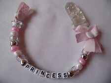 Manichino personalizzato/Catena Ciuccio Clip in Rosa Battesimo Baby Shower Regalo
