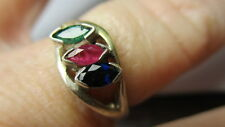 STERLING SILVER ESTATE GENUINE EMERALD RED RUBY SAPPHIRE PETITE RING SIZE 6.5