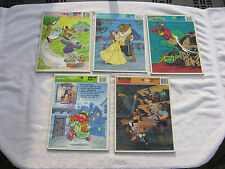 Lot Of 5 Vintage Frame-Tray Puzzles-Rocketeer,Pinocchio,Pound Puppies, & Etc