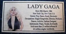 LADY GAGA Gold Plaque col Picture Free Postage****