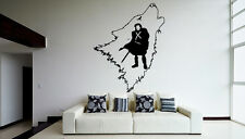 Wall Vinyl Sticker Decal Populary Wolf Man Sword  Logo Emblem V039