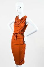 Donna Karan New York Burnt Orange Jersey Knit Ruched Belted SL Dress SZ S