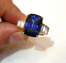 18K YELLOW  GOLD   RING 13.54CT. NATURAL SAPPHIRE CUSHION  CUT